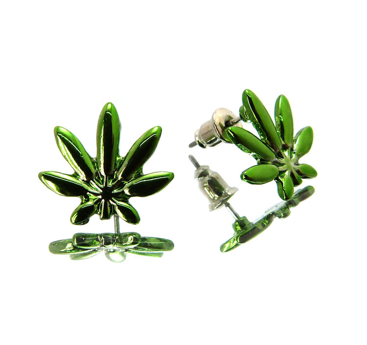 Hip Hop Marijuana Weed Link Bling Earrings Green