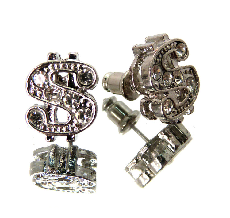 Cash Money Dollar Sign Hip Hop Bling Cz Stone Earrings