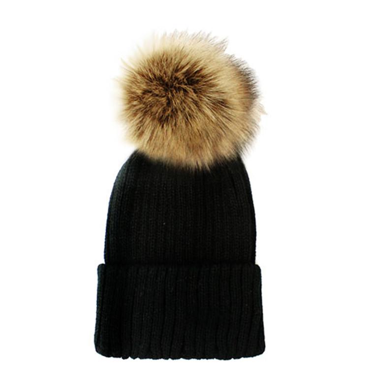 Fuzzy Ball Beanie Hat Black Brown
