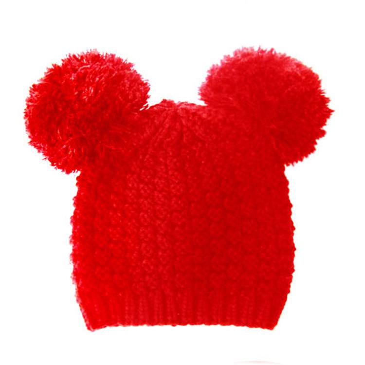 Fuzzy Cat Mouse Pom Pom Ball Beanie Hat Red