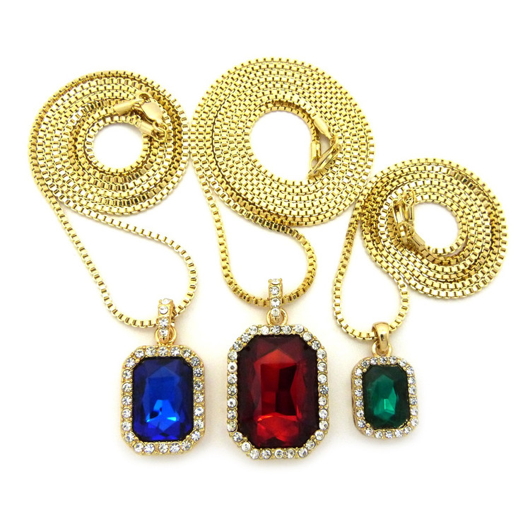 Men's Hip Hop Green Blue Red Diamond Cz Onyx Shield Chains