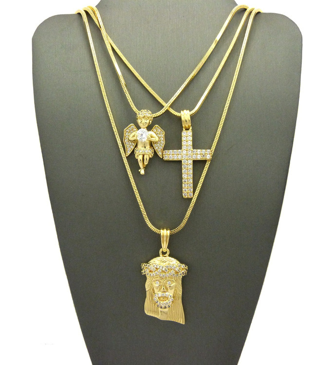 High Class Ultra Baller Jesus Cross Angel Cherub Pendant Set
