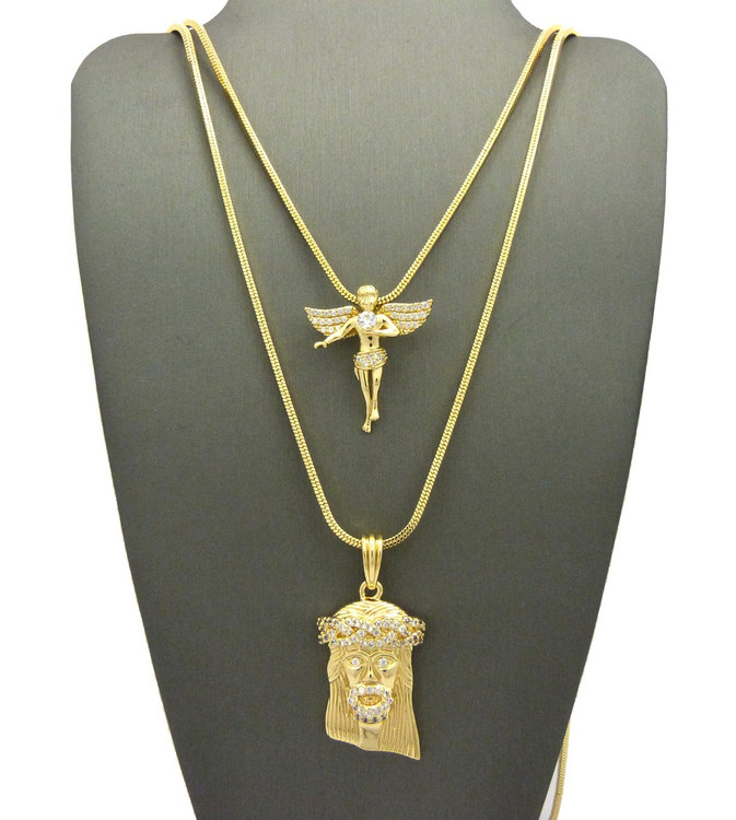 High Class Ultra Baller Jesus Angel Cherub Pendant Snake Chain Set