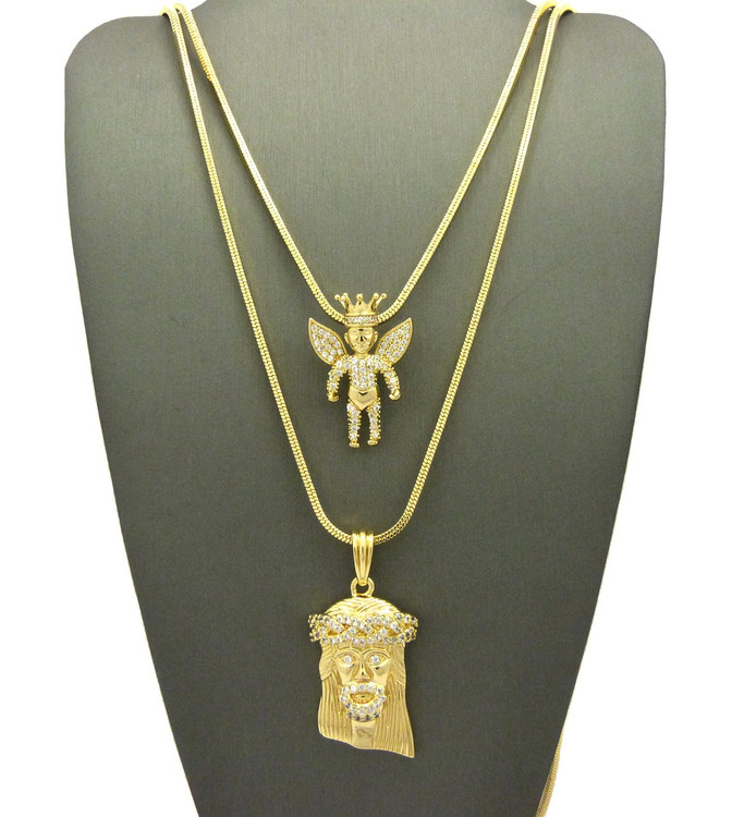 High Class Ultra Baller Jesus Crowned Angel Cherub Pendant