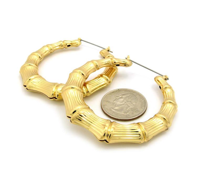 Ladies Bamboo Gold GP Orignal Lightweight Door Knocker Earrings