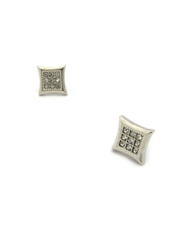 Mens Iced Out Kite 9 Cut Diamond Cz Magnetized Earrings Silver