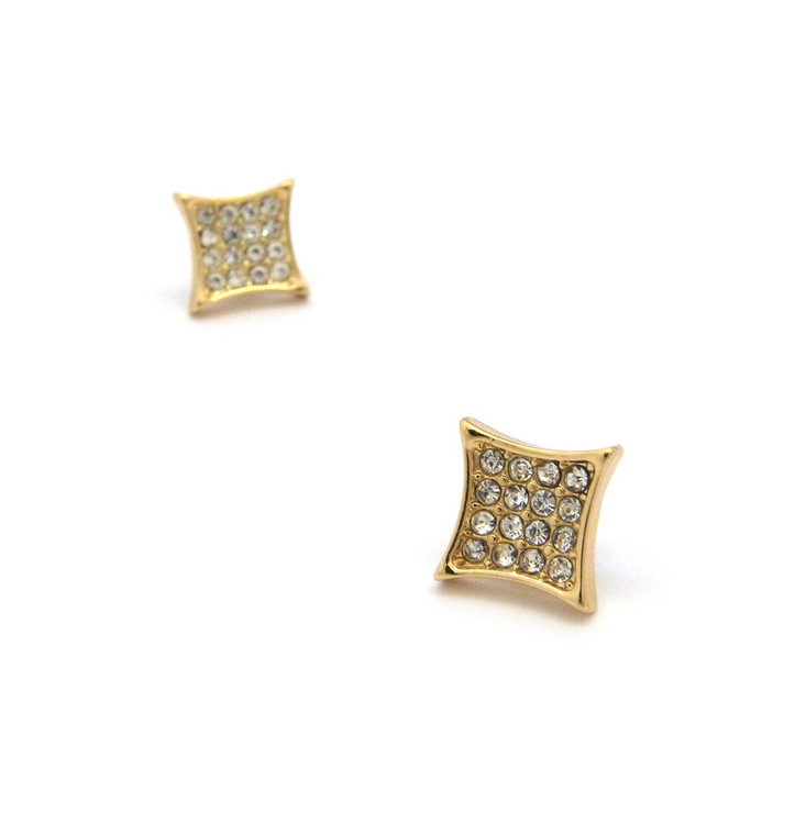 Iced Out Deep Set Kite Diamond Cz Magnetized Earrings Gold