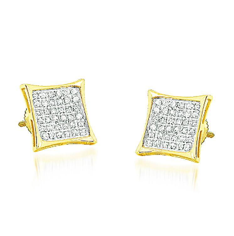 Mens 10K Yellow Gold 1/5 cttw Diamond Kite Earrings 8.28mm Wide