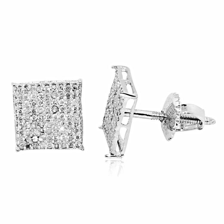 Mens 8mm 1/3 cttw Diamond Square Bling Bling Earrings