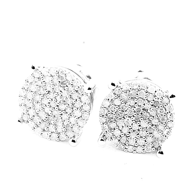 Mens Hip Hop Bling Round 8.07mm 1/4 cttw Diamond Earrings
