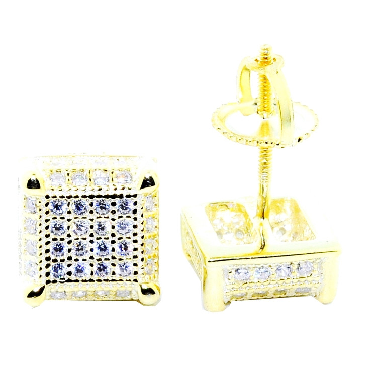 Mens 8mm Cubed Bling Bling 925 Yellow Silver Earrings
