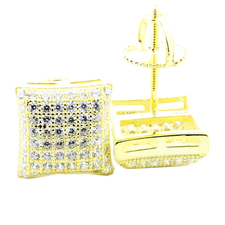 Mens Bling Bling 9.5mm Wide Dome Yellow Silver Pave Earrings