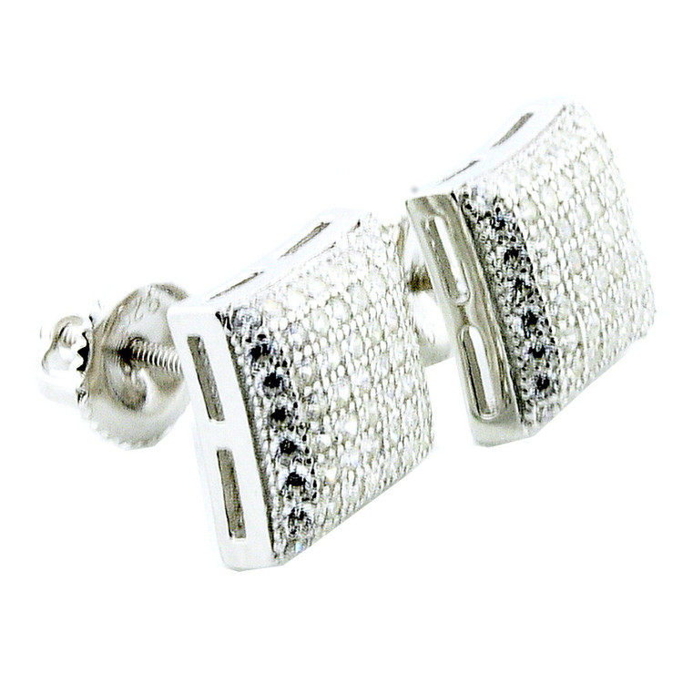 Mens Hip Hop Bling 9.68 Dome 925 Sterling Silver Pave Earrings