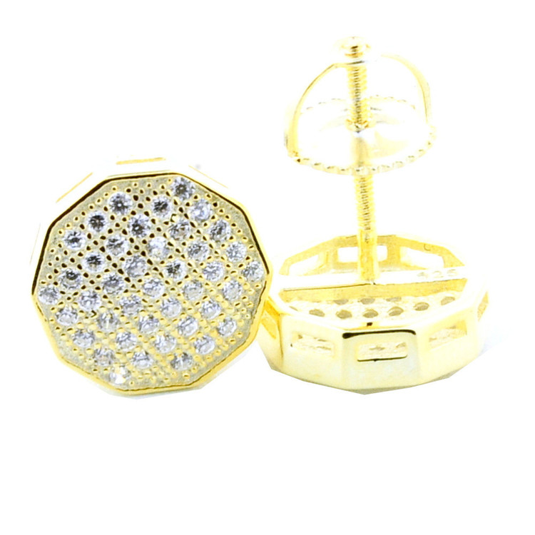 Mens Iced Out 925 Yellow Silver 9.5mm Cz Bling Earrings