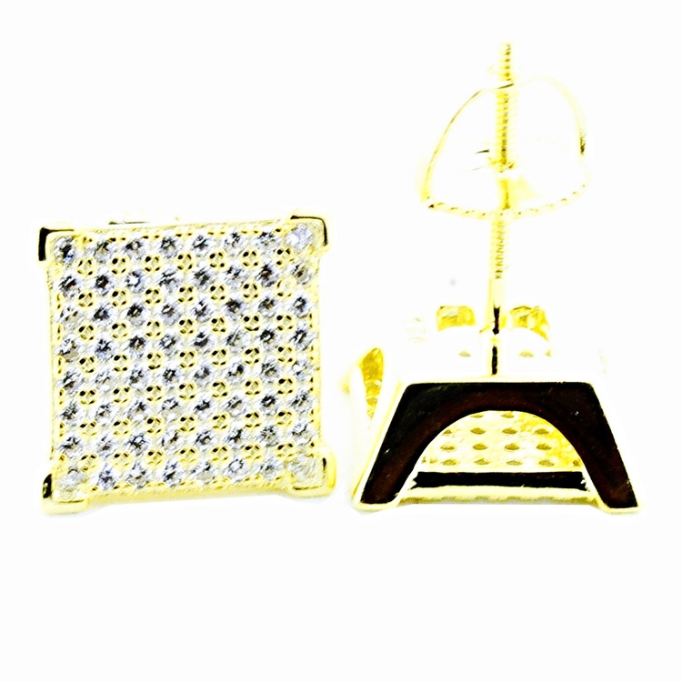 Mens Hip Hip Yellow Silver 11mm Princess Cut Pave Bling Earrings