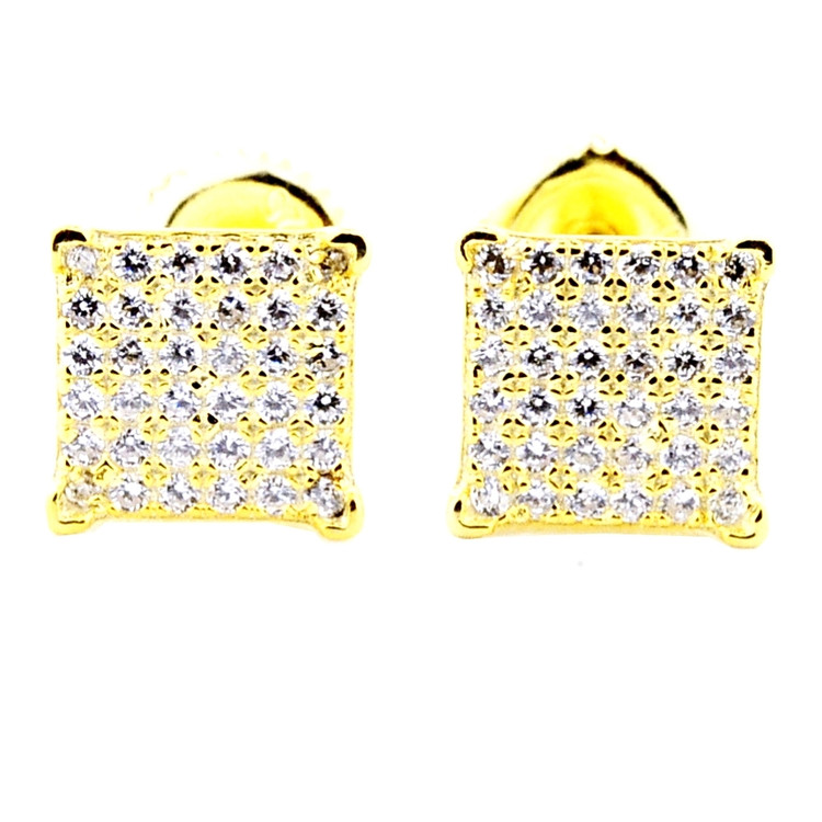 Yellow Silver Pave Set Cz Square Princess Cut Bling Bling Earrings