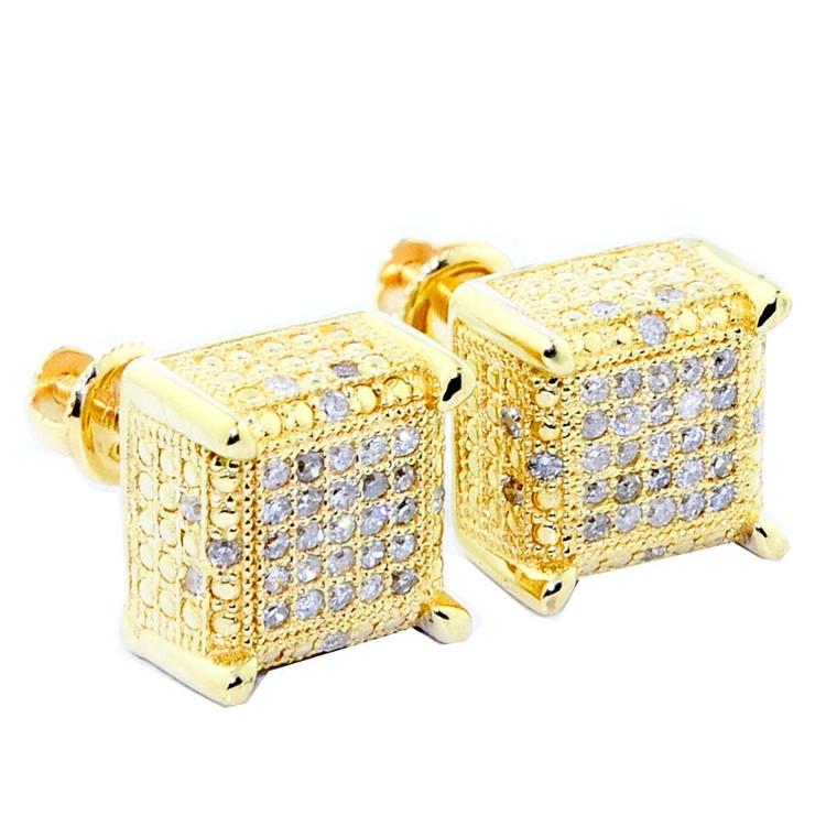 10K Yellow Gold Diamond Earrings 9mm Cube Shaped 0.3cttw