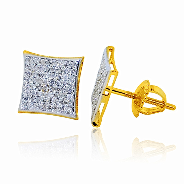 Mens 10K Yellow Gold Large Pave Diamonds Kite Earrings 10mm