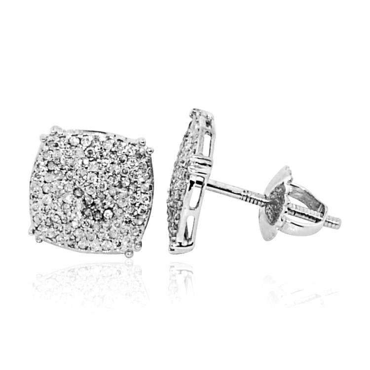 Mens 0.3CTTW Diamond Domed Concave Earrings 10K White Gold