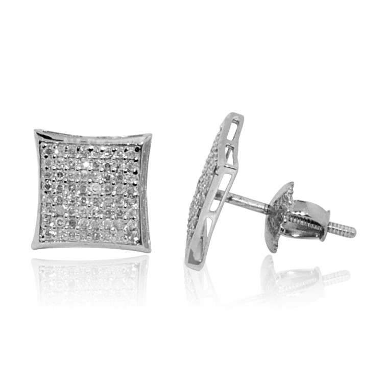 Mens Diamond Kite 7.5mm Earrings 10K White Gold
