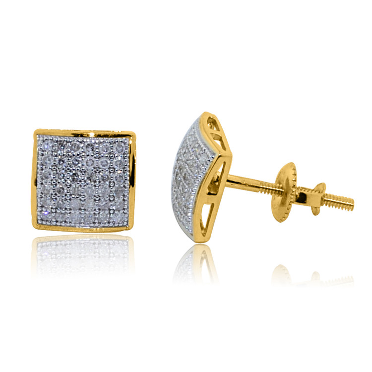 Mens 1/5 cttw Diamond Domed Square 10K Yellow Gold Earrings