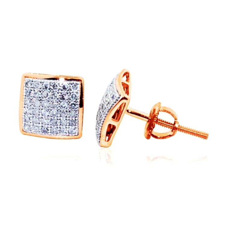 10K Rose Gold Pave Set Diamond Dome Earrings 7.5mm