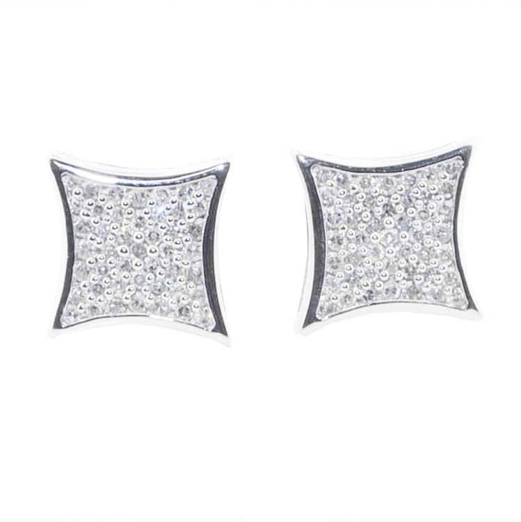 Mens 9mm Large 1/5ctw Diamonds Kite Earrings 925 Bling Earrings