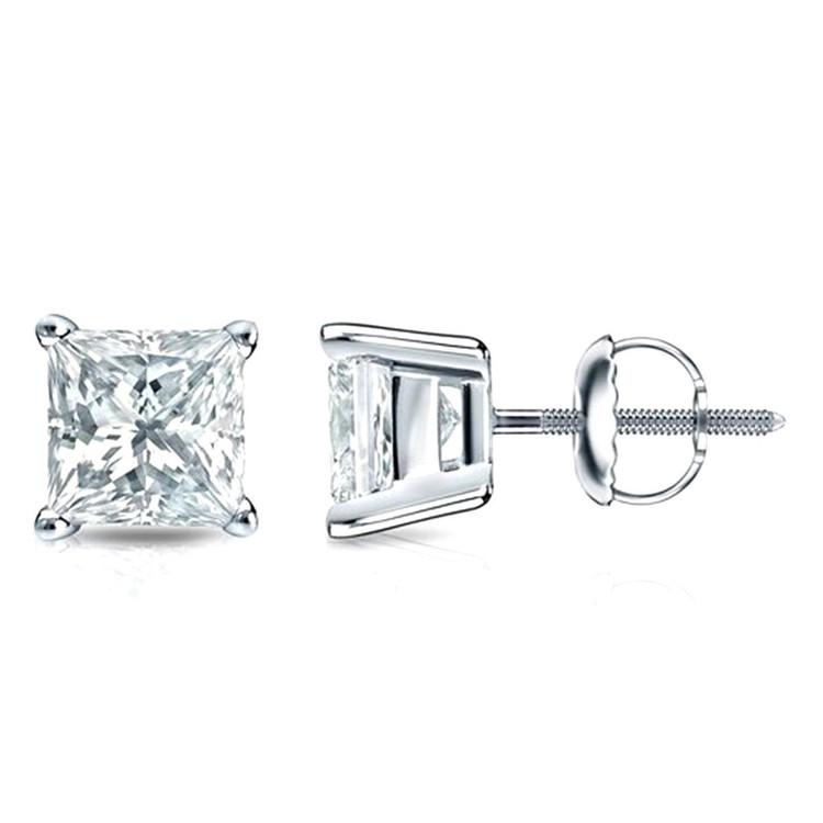 4 Prong Stud Earrings Princess Cut 1/5ctw Diamond 3mm