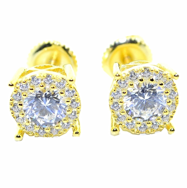 8MM Iced Out Cz Stone Micro Pave Earrings Yellow Gold