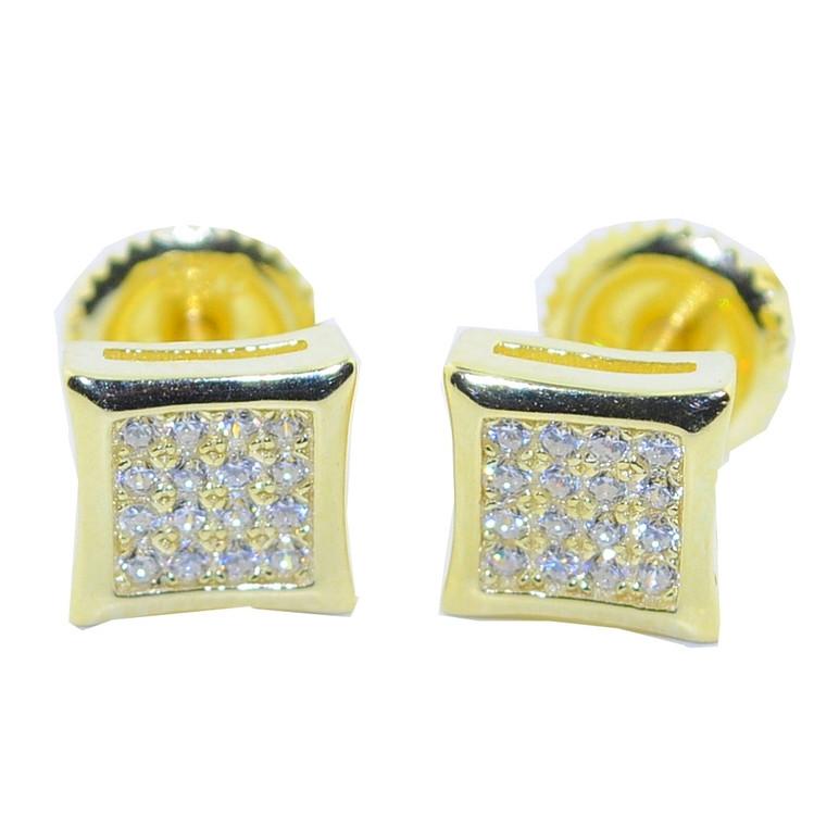 7MM Hip Hop CZ Stud Earrings Gold / Silver Pave Set Kite