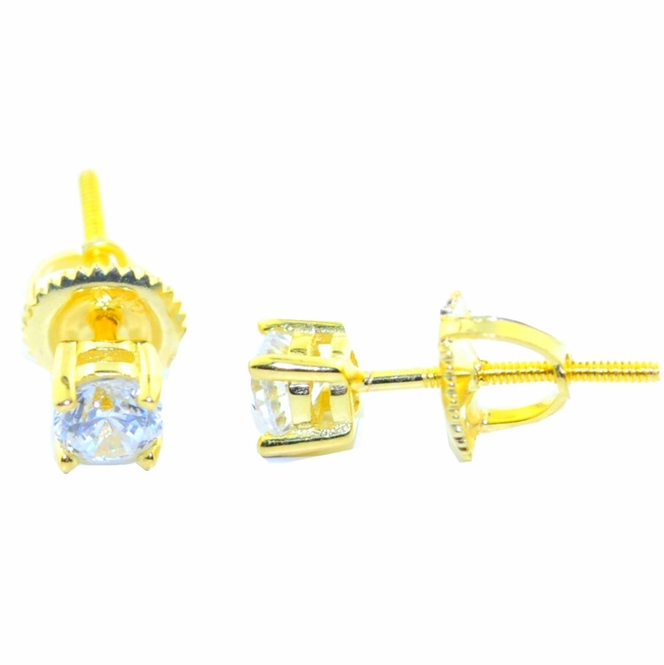 4.5MM Wide CZ Round Stud Bling Earrings Gold Tone Silver