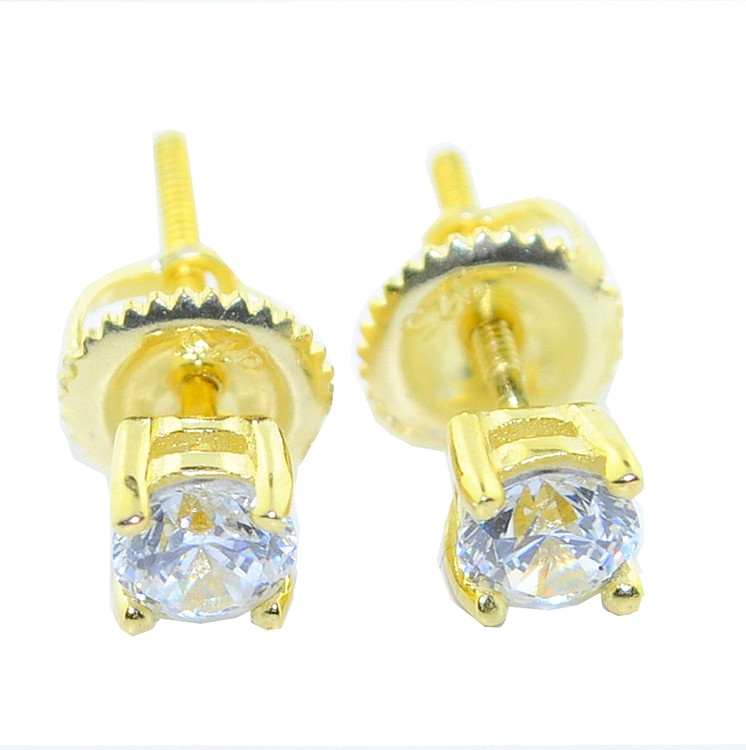 5.5MM Wide CZ Hip Hop Stud Earrings Round Cut Gold Tone