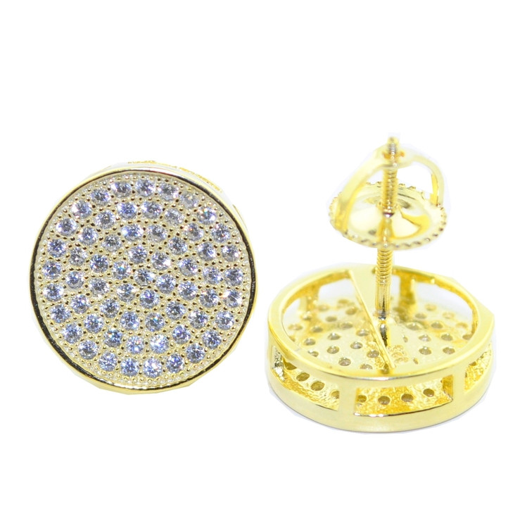 12.5MM Hip Hop Cz Earrings Yellow Gold / Silver Pave Round