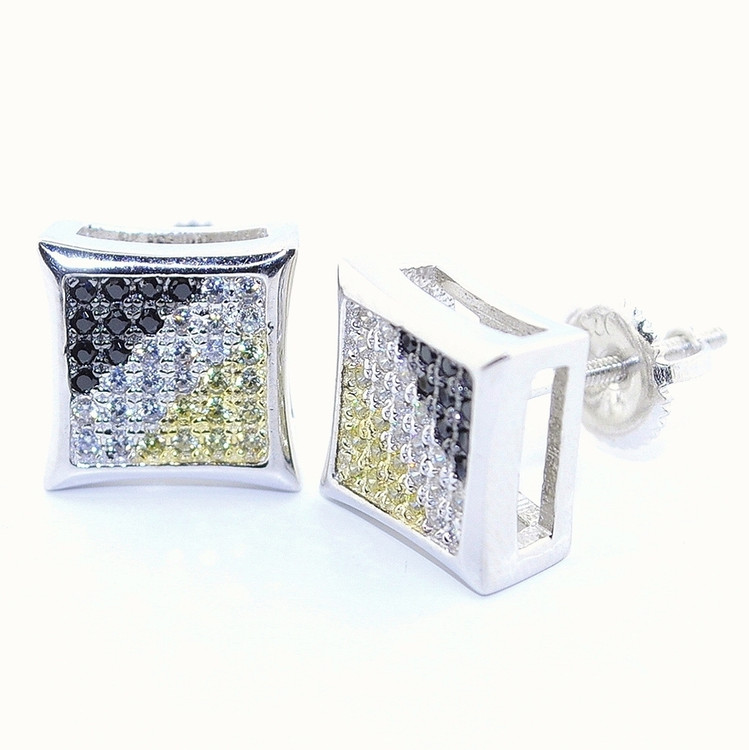 10MM Simulated Diamond Kite Shaped Yellow Black Hip Hop Earrings