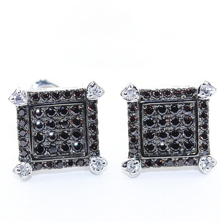 10.5MM Black Stone Simulated Diamond Iced Out Micro-Pave Earrings