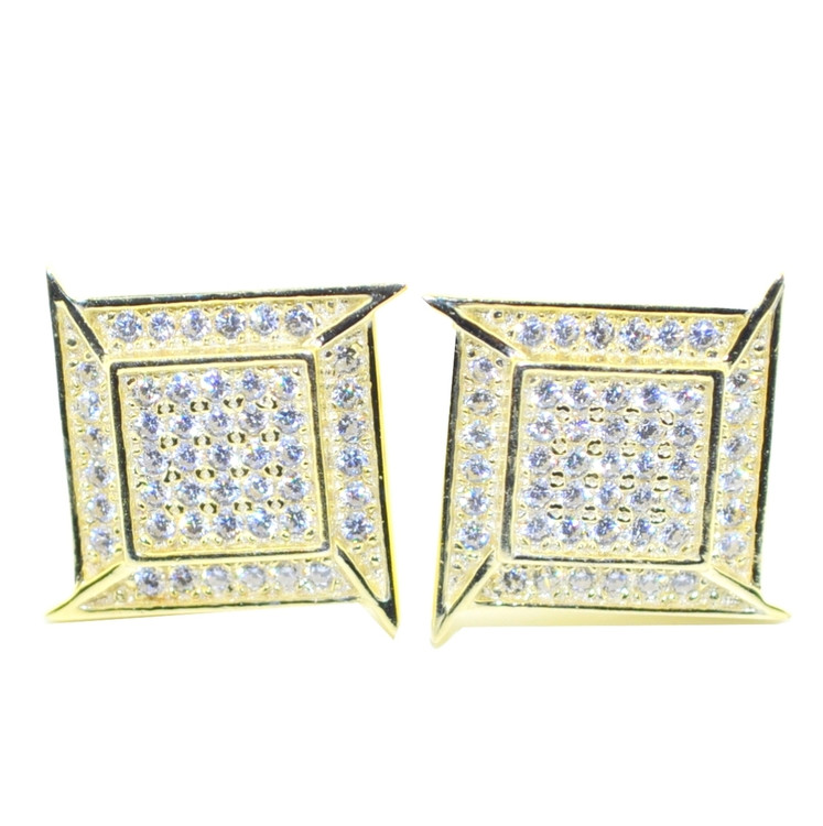 Big Boy 11MM Diamond Cz Stud Earrings 14k Gold Bling Bling Earrings
