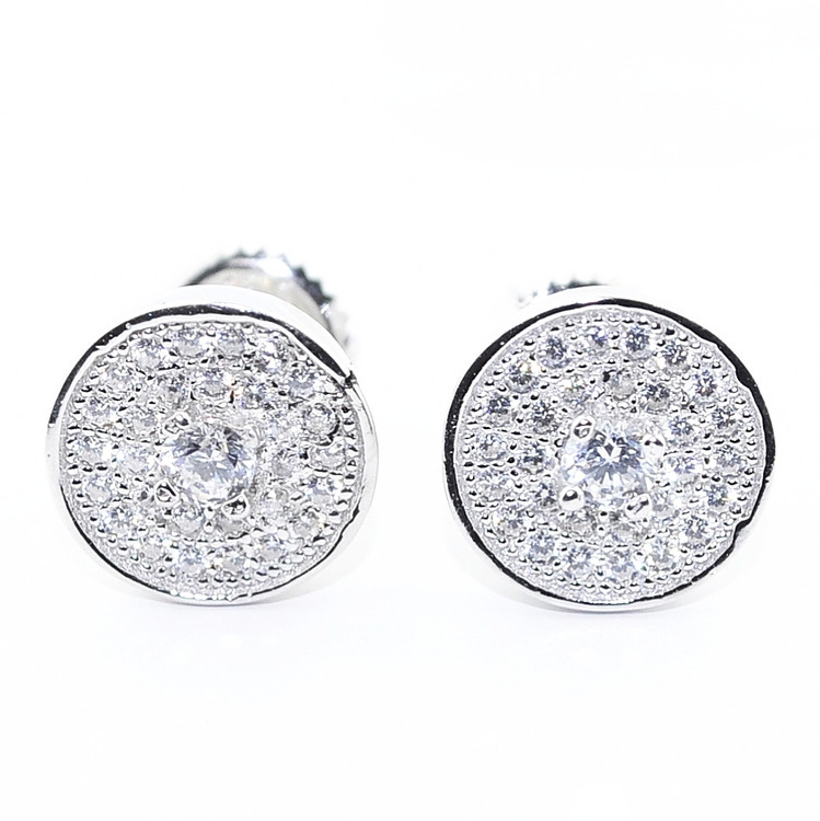 Mens Iced Out Cluster Stone 9MM Simulated Diamond 925 Earrings