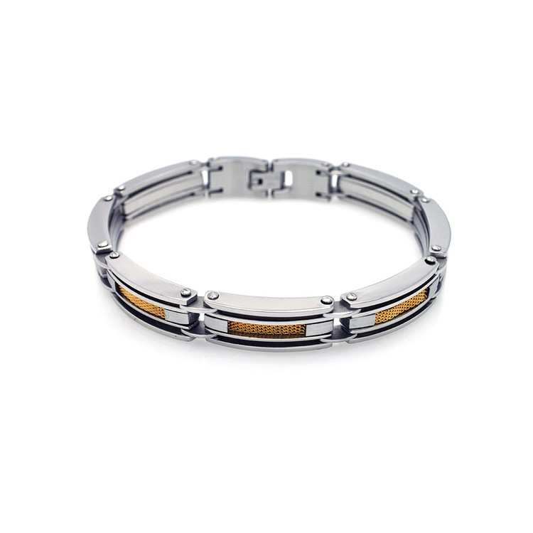 Mens 14k Gold Hip Hop Fence Link Stainless Steel Bracelet