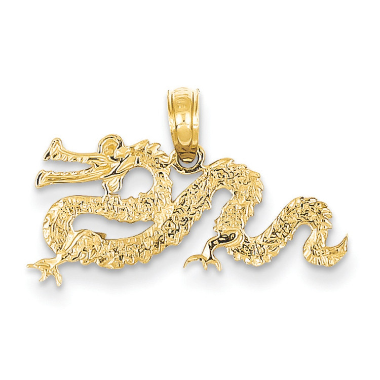 Mens 14k Yellow Gold Floating Dragon Pendant