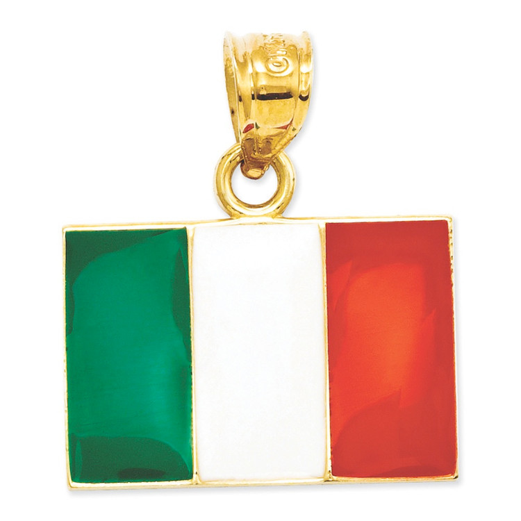 14k Yellow Gold Green White and Red Enamel Italy Flag Pendant