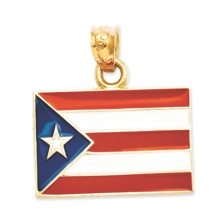 Bling Jewelz 14k Yellow Gold Red White Blue Enamel Puerto Rico Flag Pendant