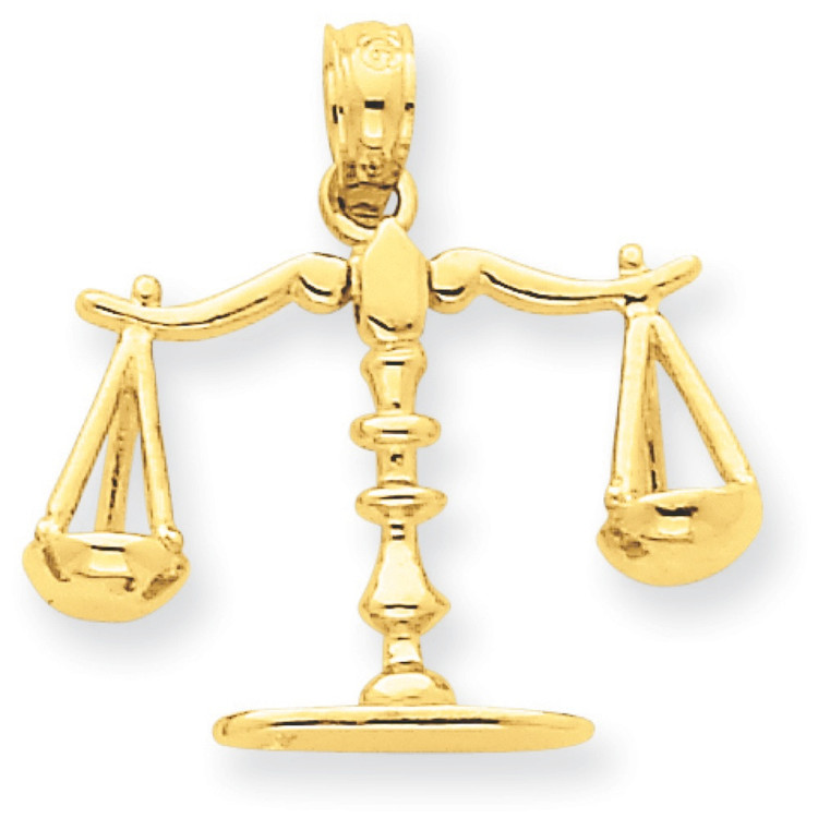 14k Yellow Gold Solid Libra Scale of Justice Pendant