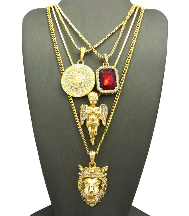 14k Gold Ultra Baller Lion Of Judah Good Vs Evil Medusa Pendant Set