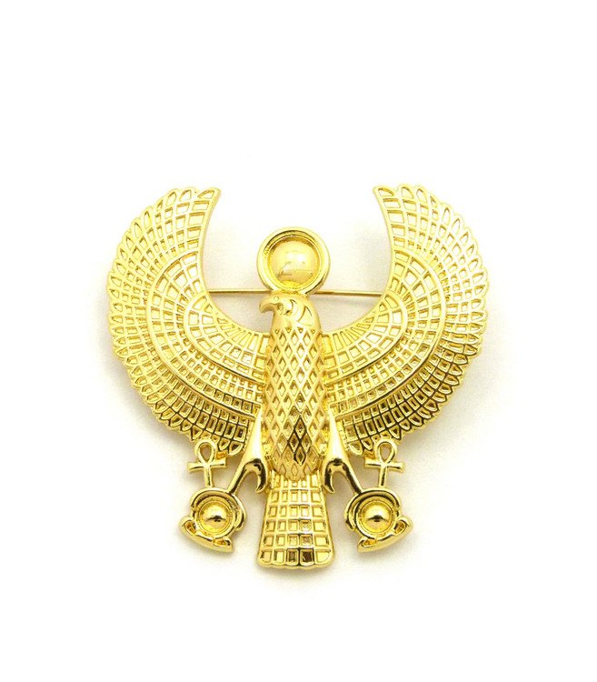 14k Gold Ancient Egyptian African Horus Bird Brooch Pin