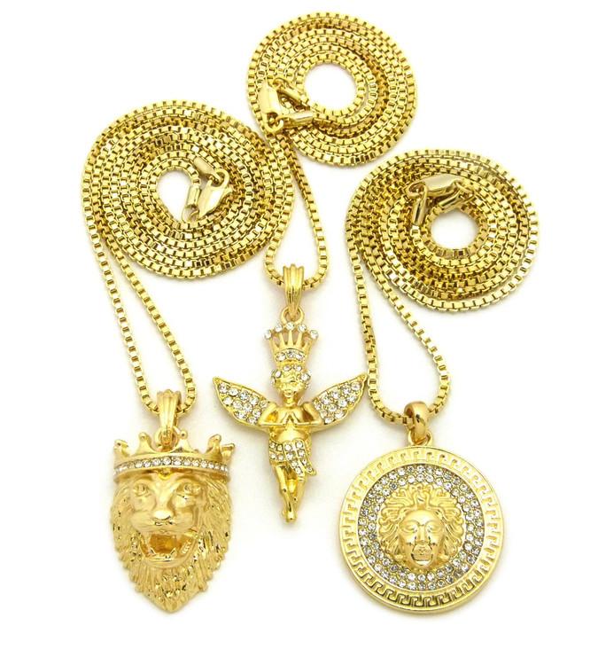 Lion Of Judah 14k Gold Good Vs Evil Medusa Head Angel Pendant Set