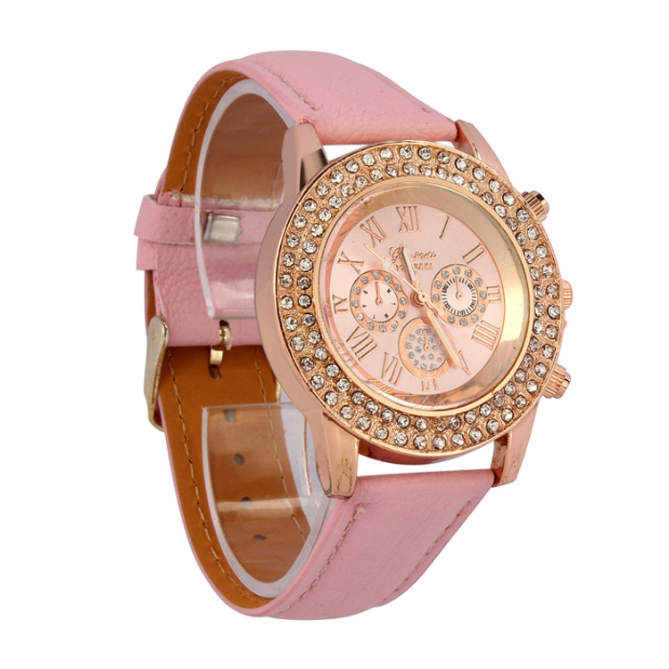 Vogue Women Ladies Crystal Dial  Leather Bracelet Wrist Watch