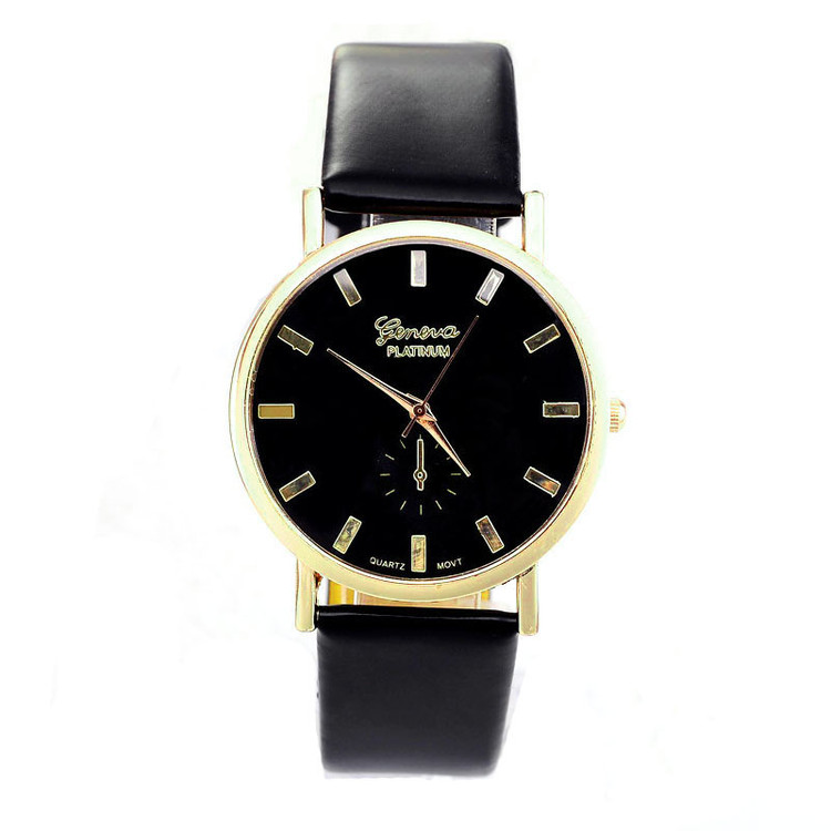Ladies Fashion Geneva Roman Leather Band Analog Quartz Watch