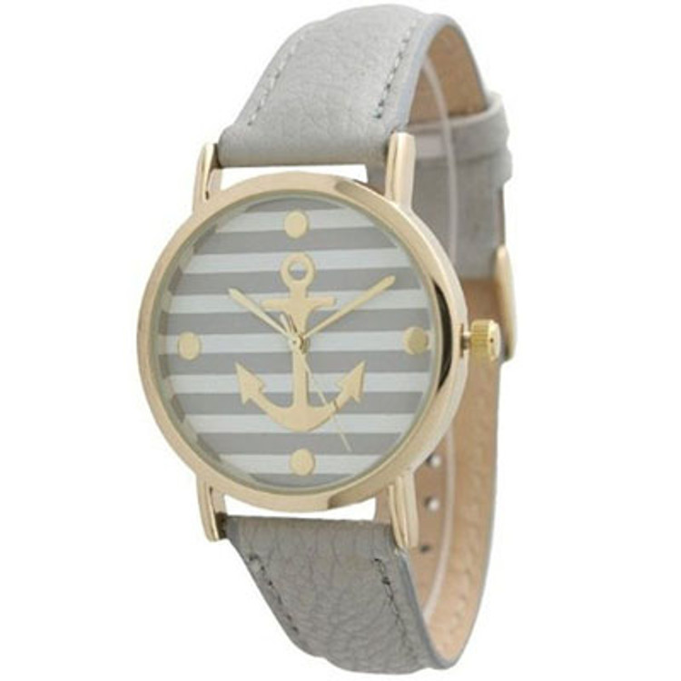 Striped Anchor Nautical Leather Watch