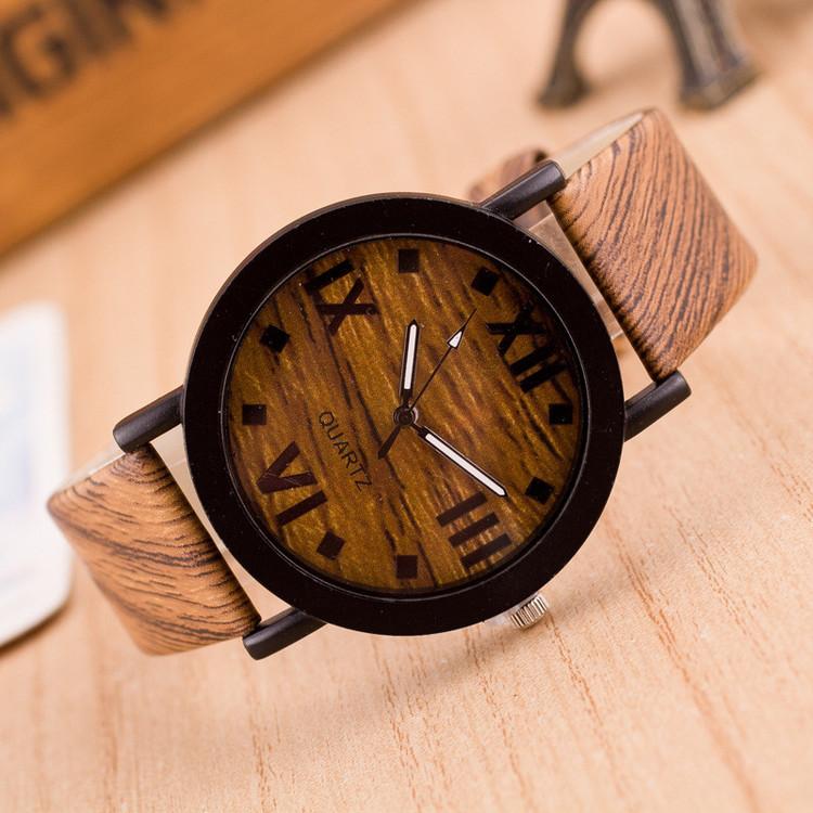Men's Hip Hop Wood Grain Wood Leather Band Watch