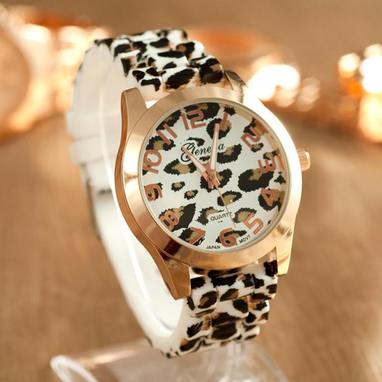 Womens Leopard Silicone Jelly Gel Quartz Analog Wrist Watch